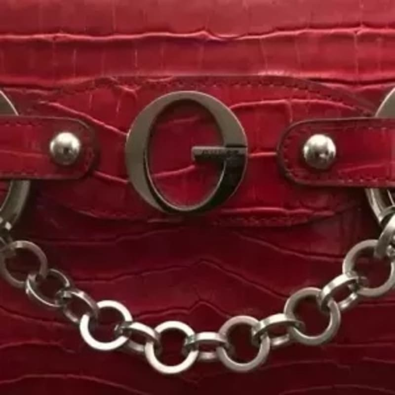 Guess Red Croc Print Silver Logo Chain Stud Satchel