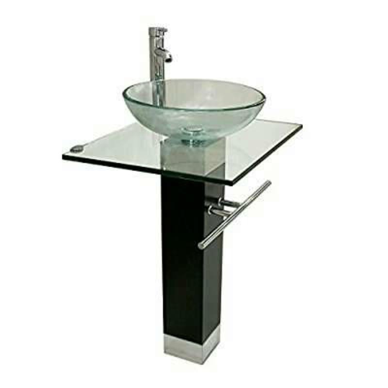 Modern bathroom vanity clear glass vessel sink w faucet - Bathroom vanity with vessel sink sale ...