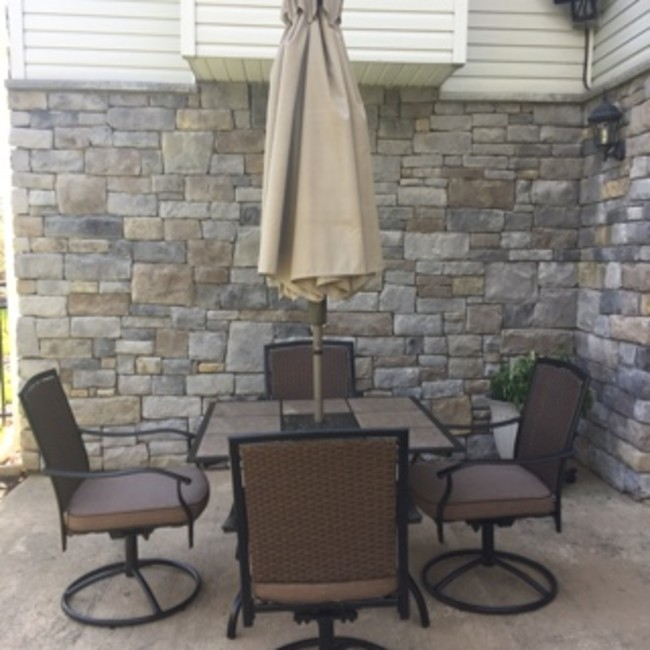 Tile Top Patio Table 4 Swivel Chairs Umbrella and
